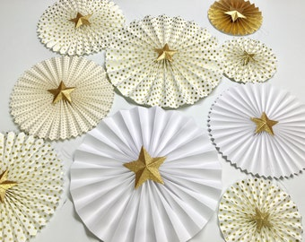 Twinkle Little Star Decor | Twinkle Little Star Paper Fan Backdrop | Baby Shower Fans |Twinkle Little Star Rosettes | Pink and Gold