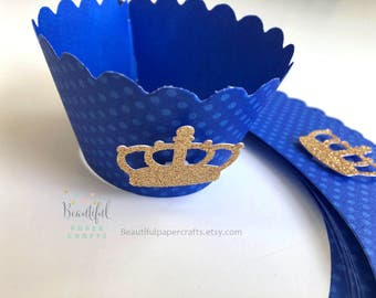 1st Birthday Prince Party Decorations | Royal Blue and Gold Glitter Crown | Little Prince Party | Prince Gold Crown Cupcake Wrapper