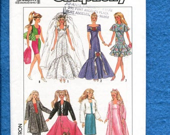 Simplicity 9334 Retro Barbie Doll Wardrobe Pattern Size 11 inch Doll