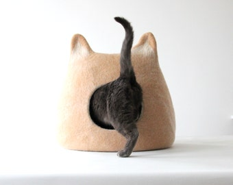 Cat bed - cat cave - beige cat house - wool cat bed - gift for pets - small dog house - pet bed - made to order - cat sleeping place