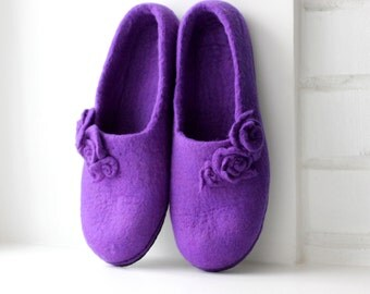 Women slippers - felted wool slippers from purple merino wool with roses - handmade house shoes - Mothers day gift - gift for Her