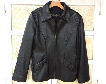 Black Leather Jacket Coat, Winlet of New York, Long with Zipper Front, Quilted Lining,  Women's size M