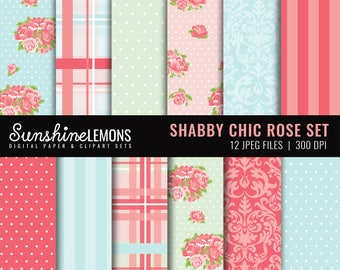 Shabby Chic Rose Digital Scrapbooking Paper - COMMERCIAL USE Read Terms Below