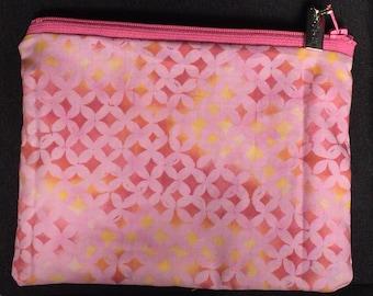Cotton zipper pouch - Pink and yellow diamonds
