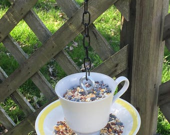 Teacup Bird Feeder - Yellow