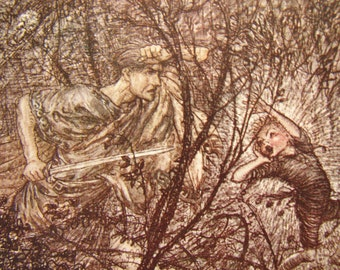 original 1920 Arthur Rackham, tipped in book plate, print. Up and Down, Goblins,  Midsummer Night's Dream
