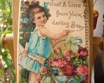 Victorian style, little girl & roses,from your Darling Baby, image on wooden tag with string to hang
