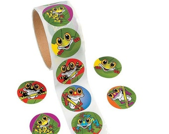 100 Frog Stickers - 1 Roll