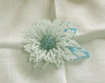 Aqua Flower Glass Seed Bead Beaded Floral Brooch Aqua Flower Pin
