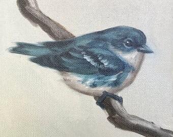 Oil Painting, Original Art, Small Art, Bird Art, Blue Warbler