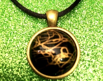 Antique Gold Colour Glass Tile Black with Gold Pattern Round Pendant Necklace- 24mm Round-Gifts For Her-Gifts for women-Ladies Jewellery