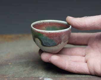 Red green glazed small tea cup, Wood fired stoneware, ceramic pottery tea bowl,sake cup, whiskey cup