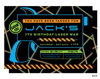 Laser Tag Invitation, Black and Neon, Laser Tag Birthday Party, Printable or Printed