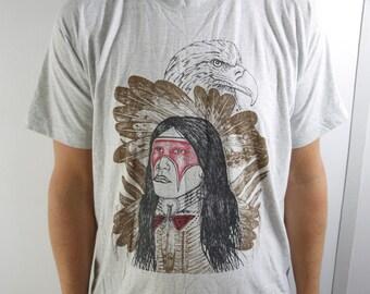 Vintage Native American Indian Bald Eagle Feathers Shirt Vintage Size Large