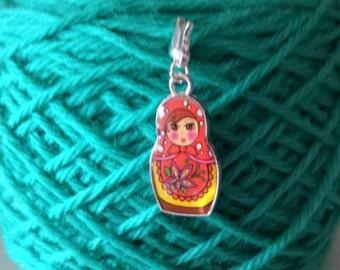 Russian Nesting Doll Knitting Stitch Markers-Project Bag Charm-Purse/Planner Charm-Progress Keeper-Enamel Silver Tone Doll Red Babushka
