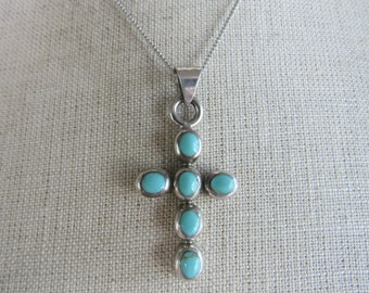 Vintage Turquoise Cross Sterling Silver Indian Cross Southwestern Jewelry Cross Pendant