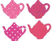 4 Iron on teapot miniature appliques DIY