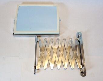 Vintage Accordion Mirror, Wall Mount Scissor Arm Vanity Mirror, Retro Magnified Bathroom, Chrome Shaving