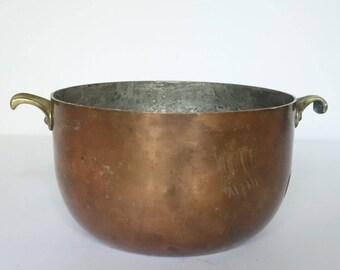 Vintage Heavy Copper Pot, Brass Handles Tin Lined Pan, German Schwabenland, Candy Making Pot