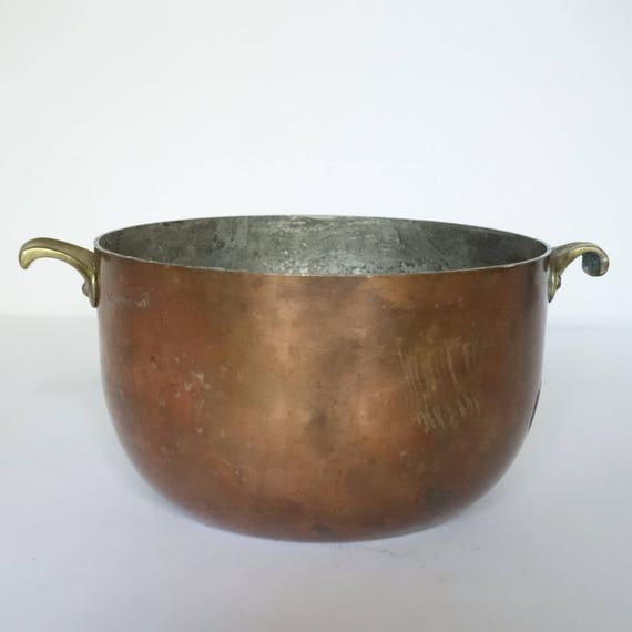 Vintage Heavy Copper Pot Brass Handles Tin Lined Pan German