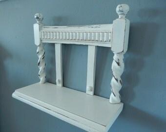 Shabby Wall Shelf - Shabby Curio Shelf - Hanging Shelf - Chair Back Shelf - Painted Wall Shelf - Wood Wall Shelf - Knick Knack Shelf