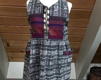Guatemalan Ikat Lace Up Cotton Dress Small/medium Embroidered