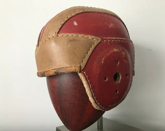 Antique leather football helmet