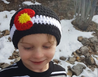 Crochet Colorado Flag Beanie, Child Size Hat, Black Beanie, Crochet Beanie for Kids, Colorado Pride, State Flag, Winter Hat for Children