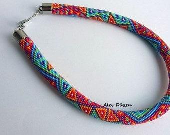 AN056 - Bead Crochet Necklace - Beaded Necklace - Purple Red Design - Handmade Beadwork Necklace