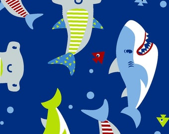 Snuggle Flannel Fabric - Shark Time - 1/2 Yard