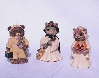 Vintage Miniature Halloween Animal  Trick or Treat Costume figurines. Vintage Halloween.