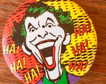 Vintage Nineties Pinback Joker Button, Free Shipping