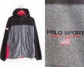vintage windbreaker / POLO Sport / tech fleece / 1990s Polo Sport Ralph Lauren fleece hoodie jacket Large