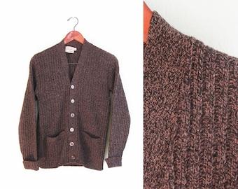 vintage cardigan / grandpa cardigan / marled / 1950s marled chunky knit grunge cardigan Small