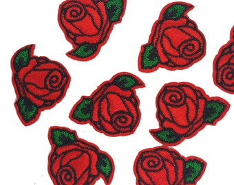 10 pcs Red Roses Patches Appliques, Iron On Flowers Patches