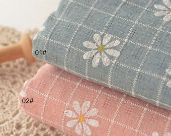 Daisy flower Shabby Chic Cotton Fabric Cloth, White Floral Plaid on Pink/Green Cotton - 1/2 yard (QT1001)