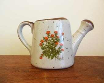 Takahashi Japan Watering Can Vintage Decorative Stoneware Speckled with Orange  Flowers and Brown Trim