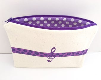 Purple Treble Clef Music Bag