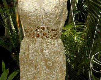 40% OFF Stunning Vintage 1950's  Gold Brocade & Floral Cream Sleeveless Vintage Dress, Mad Men,  sz S