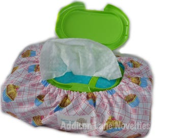 bulk baby wipe cover, baby wipe cover, cupcake, pink, baby, baby shower gift, wipe cover, cover for baby wipes, diaper wipe cover, wipes bag