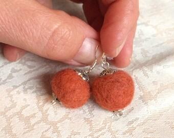 Felt Jewelry Earrings Felt Ball Earrings Eco Friendly Copper Felted Wool Earrings