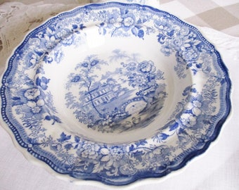 Antique 1800's transferware bowl by W. Barker & Son, blue and white soup/stew bowl, english pottery, excellent condition