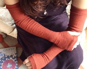Burned orange extra long fingerless gloves in merino wool- Fingerless Mittens, opera fingerless gloves