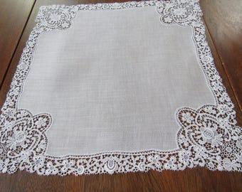 Handkerchief, White Linen, Lace, Vintage, Wedding