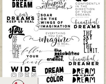 Digital and Printable Overlay Word Set Art - Instant Download - Dare to Dream