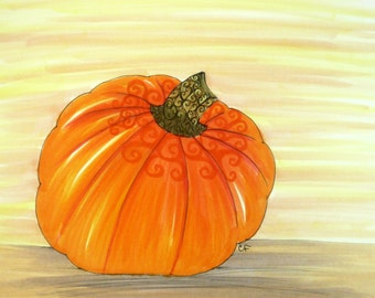 Vegetable art, Kitchen wall art, Original Pen and Ink drawing, Pumpkin with colorful details. 8x10 matted original art.