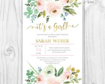 It's a girl BABY SHOWER INVITATION blush and gold, pink watercolor flowers, baby girl invites, boho baby shower, pink and gold foil