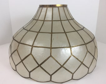 Vintage Capiz Large lamp Shade hanging or table lamp