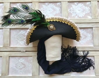 Black Baroque Gold Embellished Pirate Cavalier Hat