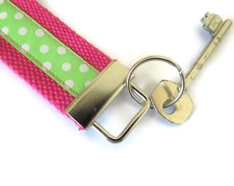 Pink Cotton Webbing Key Fob - Wristlet Key Ring  - Webbing Key Carrier - Key Carrier